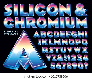 An eighties-style chrome 3-d vector alphabet