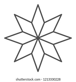 Eight-pointed star thin line icon. Christmas tree star vector illustration isolated on white. Xmas decoration outline style design, designed for web and app. Eps 10