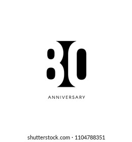 Eighty anniversary, minimalistic logo. Eightieth years, 80th jubilee, greeting card. Birthday invitation. 80 year sign. Black negative space vector illustration on white background