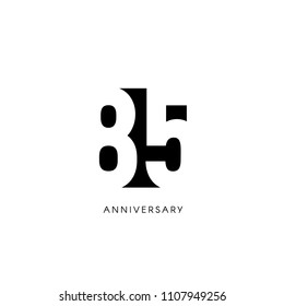 Eighty five anniversary, minimalistic logo. Eighty-fifth years, 85th jubilee, greeting card. Birthday invitation. 85 year sign. Black negative space vector illustration on white background