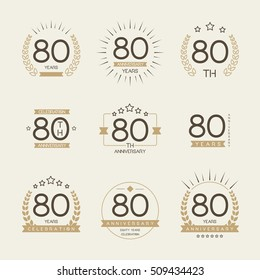 Eighty years anniversary celebration logotype. 80th anniversary logo collection.