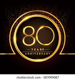 eighty years birthday celebration logotype. 80th anniversary logo with confetti and golden ring isolated on black background, vector design for greeting card and invitation card.