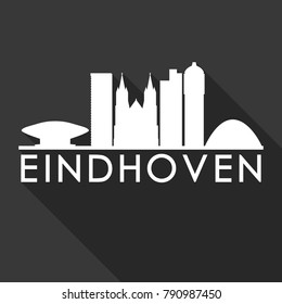 Eindhoven Netherlands Europe Flat Icon Skyline Silhouette Design City Vector Art Famous Buildings