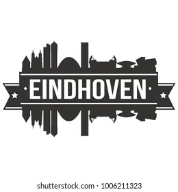 Eindhoven Netherlands Europe Skyline Silhouette Design City Vector Art Famous Buildings Stamp