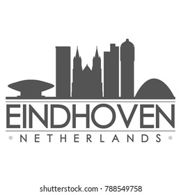 Eindhoven Netherlands Europe Skyline Silhouette Design City Vector Art Famous Buildings
