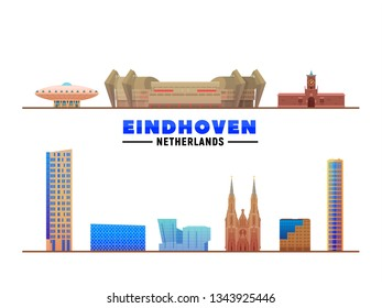 Eindhoven the Netherlands landmarks at white background. Vector Illustration. Business travel and tourism concept with modern buildings. Image for banner or web site.