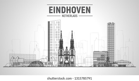 Eindhoven the Netherlands line skyline with panorama at white background. Vector Illustration. Business travel and tourism concept with modern buildings. Image for banner or web site.