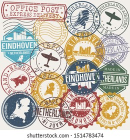 Eindhoven Netherlands Set of Stamps. Travel Stamp. Made In Product. Design Seals Old Style Insignia.