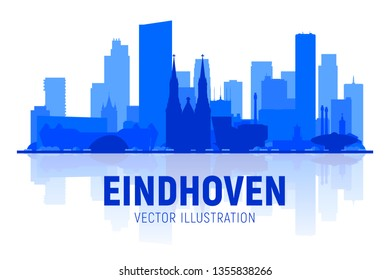 Eindhoven the Netherlands silhouette at white background. Vector Illustration. Business travel and tourism concept with modern buildings. Image for banner or web site.