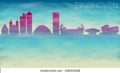 Eindhoven Netherlands Skyline. Broken Glass Abstract Geometric Dynamic Textured. Banner Background. Colorful Shape Composition.