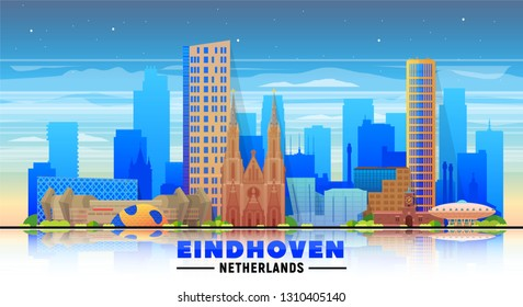 Eindhoven the Netherlands skyline with panorama at sky background. Vector Illustration. Business travel and tourism concept with modern buildings. Image for banner or web site.