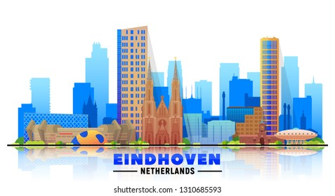 Eindhoven the Netherlands skyline with panorama at white background. Vector Illustration. Business travel and tourism concept with modern buildings. Image for banner or web site.