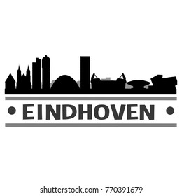 Eindhoven Netherlands Skyline Silhouette Stamp City Design Vector Art Template