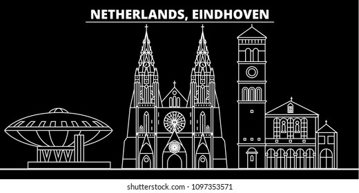 Eindhoven silhouette skyline. Netherlands - Eindhoven vector city, dutch linear architecture, buildings. Eindhoven travel illustration, outline landmarks. Netherlands flat icon, dutch line banner