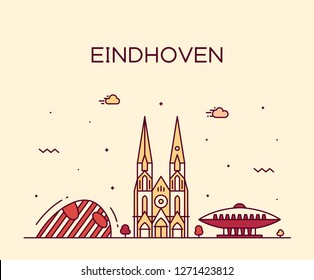 Eindhoven skyline, Netherlands. Trendy vector illustration, linear style