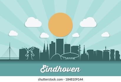 Eindhoven skyline Netherlands skyline vector illustration