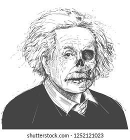 Аlbert Einstein, famous scientist illustration. Vector Portrait Drawing Illustration. December 08, 2018