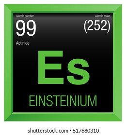 Einsteinium symbol. Element number 99 of the Periodic Table of the Elements - Chemistry - Green frame with black background
