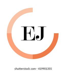 EJ black letters , modern type of font , tree orange colors , simply alphabet like design identity