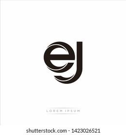 ej e j Initial Letter Split Lowercase Modern Monogram linked outline rounded logo