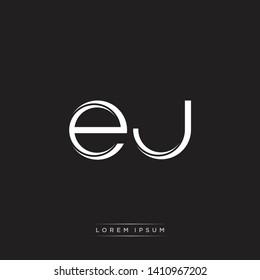 ej e j logo Initial Letter Split Lowercase Monogram Logo White