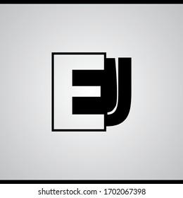 EJ, E and J negative space letter logo