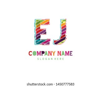 EJ Full color initial logo vector