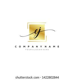 EJ handwriting initial logo template vector.