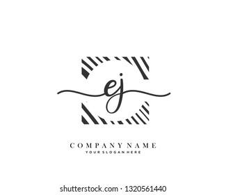 EJ handwriting initial  logo vector