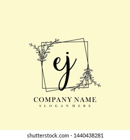 EJ Initial beauty floral logo template