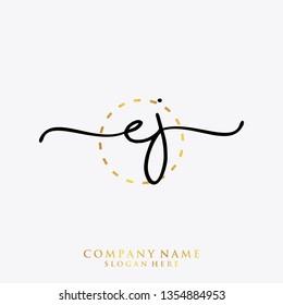EJ Initial handwriting logo template