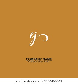 EJ Initial handwriting logo vector
