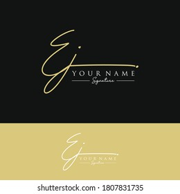 EJ Initial letter handwriting and signature logo.