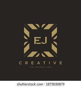EJ initial letter luxury ornament monogram logo template vector.