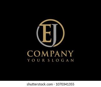 EJ initial letters looping linked circle elegant logo golden silver black background