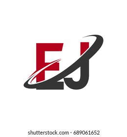EJ initial logo company name colored red and black swoosh design, isolated on white background. vector logo for business and company identity.