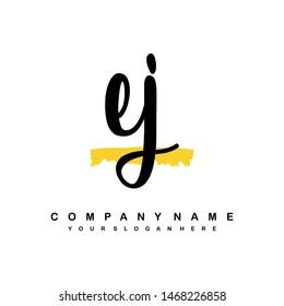 EJ initial signature logo. handwriting logo template vector,