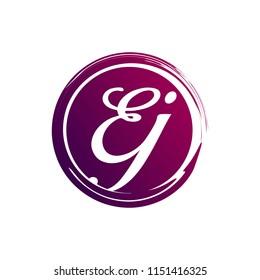 EJ initial splash logo template vector