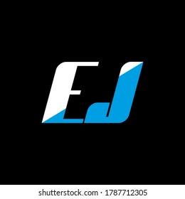 EJ letter logo design on black background. EJ creative initials letter logo concept. ej icon design. EJ white and blue letter icon design on black background. E J