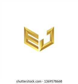 EJ Logo letter initial 3d designs templete with gold colors