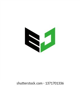 EJ Logo Letter Initial With Black and Green Colors