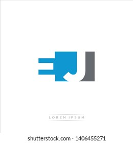 EJ Logo Letter with Modern Negative space - Blue and Grey Color EPS 10