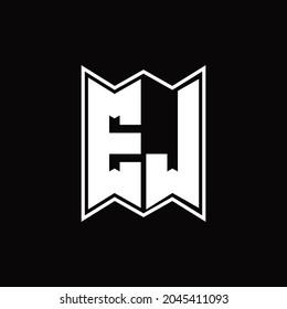 EJ Logo monogram with emblem style design template on black background
