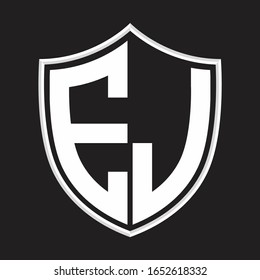EJ Logo monogram with shield shape isolated on outline design template