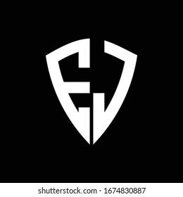 EJ logo monogram with shield shape design template