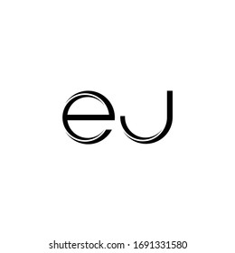 EJ Logo monogram with slice rounded modern design template isolated on white background