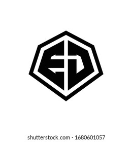 EJ monogram logo with hexagon shape and line rounded style design template isolated on white background