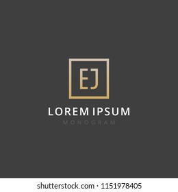 EJ. Monogram of Two letters E & J. Luxury, simple, stylish and elegant EJ logo design. Vector illustration template.