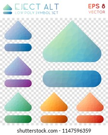 Eject alt geometric polygonal icons. Appealing mosaic style symbol collection. Posh low poly style. Modern design. Eject alt icons set for infographics or presentation.