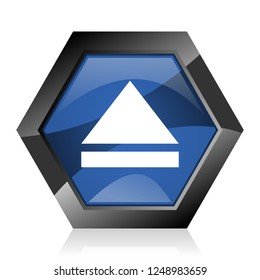 Eject dark blue glossy hexagon geometric diamond vector web icon with reflection on white background. Modern design hexagonal internet button.
